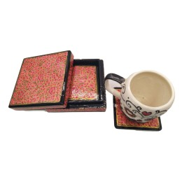 Handmade Papier Mache Coasters with Stand for Drinks/Drink Coasters for bar Set of 6, Best for Gifting (Red)