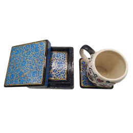 Handmade Papier Mache Coasters with Stand for Drinks/Drink Coasters for bar Set of 6, Best for Gifting (Light Blue)