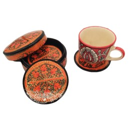 Handmade Papier Mache Coasters with Stand for Drinks/Drink Coasters for bar Set of 6, Best for Gifting (Orange)