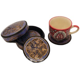 Handmade Papier Mache Coasters with Stand for Drinks/Drink Coasters for bar Set of 6, Best for Gifting (Blue & Black)