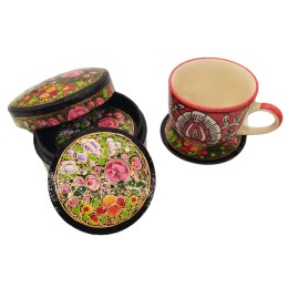 Handmade Papier Mache Coasters with Stand for Drinks/Drink Coasters for bar Set of 6, Best for Gifting (Multicolor)