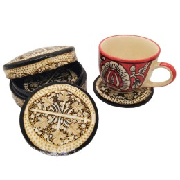 Handmade Papier Mache Coasters with Stand for Drinks/Drink Coasters for bar Set of 6, Best for Gifting (Black)