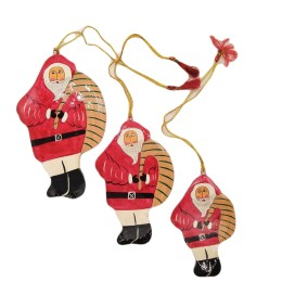 Handicraft Christmas Ornaments New Year Birthday Decorations Santa Set of 3(Orange)