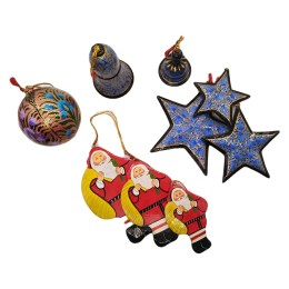 Handicraft Christmas Ornaments New Year Birthday Decorations Santa Set of 3(Blue)