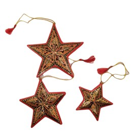 Handicraft Christmas Ornaments New Year Birthday Decorations Santa Set of 3(Red)