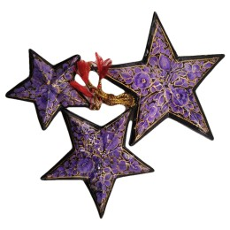 Handicraft Christmas Ornaments New Year Birthday Decorations Santa Set of 3(Purple)
