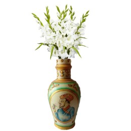 India Meets India Handicraft Flower Vase with Antique Mughal Design Decorative Home, Offices, Best Gifting, Made By Awarded Indian Artisan