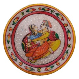 "India Meets India Handicraft Handpainted Marble Puja Thali, Puja plate, 9"" Inch, Best Gifting Made By Awarded Indian Artisan"