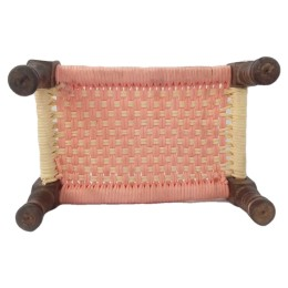 India Meets India Handicraft Wooden Handcarved Old Cot Charpai with Ropes Statue, Showpiece, Best Gifting, Made By Awarded Indian Artisan