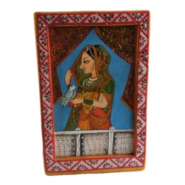 """India Meets India Handicraft Hand Painting on Marble Mughal Art Table top Showpiece, 18""""x12""""x6"""" Inch, Home Décor, Best Gifting Made By Awarded Indian Artisan"""