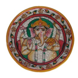 """India Meets India Handicraft Handpainted Marble Puja Thali, Puja plate, 9"""" Inch, Best Gifting Made By Awarded Indian Artisan"""