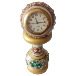 India Meets India Handicraft Marble Desk Clock, Table Clock, Clock, Best Gifting Made By Awarded Indian Artisan