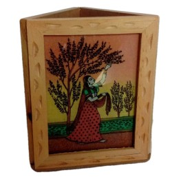 India Meets India Handicraft Wood Pen Holder Pencil Holder Desk Organizer, Best Gifting Made By Awarded Indian Artisan