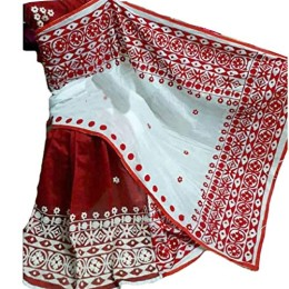 Ethnic Indian Women's Cotton silk sarees with wool, thread embroidery and mirrors(  Red & White)