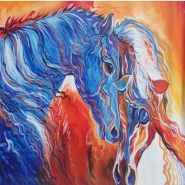 Classy Horse Pair Wall Hanging by Differently Abled Artist