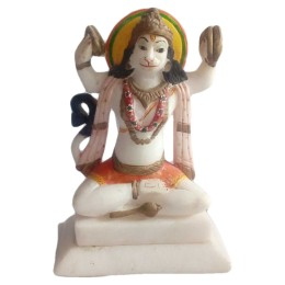 "India Meets India Handicraft Marble Lord Hanuman Statue, Lord Hanuman Showpiece, 8""X6"" Inch. Best Gifting Made By Awarded Indian Artisan"