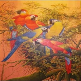 Classy Pandemonium of Parrots Wall Hanging by Differently Abled Artist
