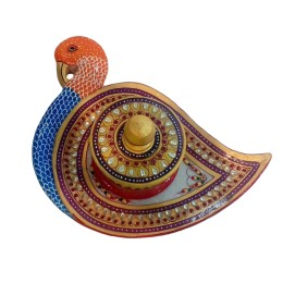 India Meets India Handicraft Marble Meenakari Supari Daan with Peacock Tray Set, Best Gifting, Made By Awarded Indian Artisan