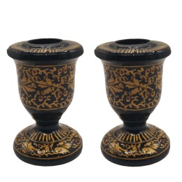 Handmade Papier Mache Candlesticks Holder Set of 2, Candle Holder, Best for Gifting(gold)