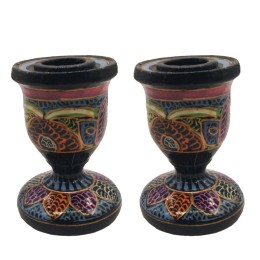 Handmade Papier Mache Candlesticks Holder Set of 2, Candle Holder, Best for Gifting(Black)