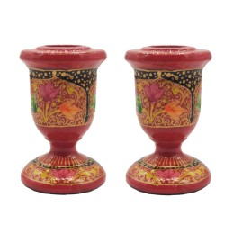 Handmade Papier Mache Candlesticks Holder Set of 2, Candle Holder, Best for Gifting(Red)