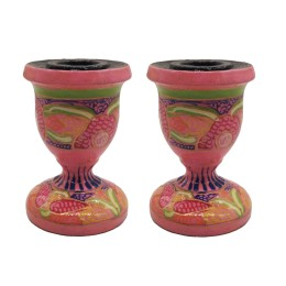 Handmade Papier Mache Candlesticks Holder Set of 2, Candle Holder, Best for Gifting(Pink)