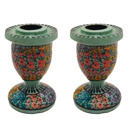 Handmade Papier Mache Candlesticks Holder Set of 2, Candle Holder, Best for Gifting(Green)