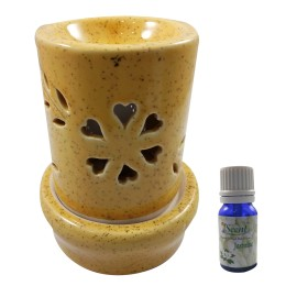 Handmade Ceramic Yellow Ethnic Electric Aroma Diffuser Oil Burner with Sandal Wood Fragrance Oil Good Quality Aromatherapy Incense Oil Warmer Qty 1