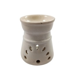Handmade Ceramic White Ethnic Tealight Candle Aroma Diffuser Oil Burner  Aromatherapy Incense Oil Warmer Qty 1