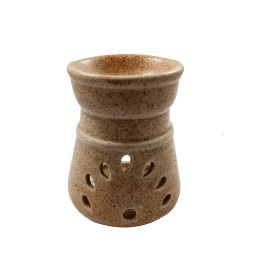 Handmade Ceramic Cream BLK Dot Ethnic Tealight Candle Aroma Diffuser Oil Burner  Aromatherapy Incense Oil Warmer Qty 1