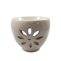 Handmade Ceramic White Aroma Oil Burner  by rural artisans.