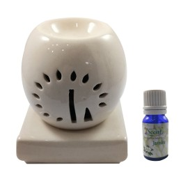 Handmade Ceramic White Ethnic Electric Aroma Diffuser Oil Burner with Jasmine Fragrance Oil | Good Quality  Aromatherapy Incense Oil Warmer Qty 1