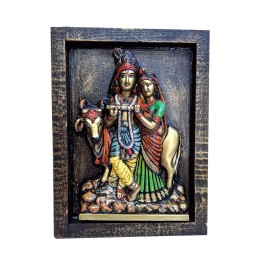 "India Meets India Handicraft Lord Radha Krishna Fibre Wall Hanging, Wall Décor, 12""x9"" Inch, Best Gifting Made By Awarded Indian Artisan"