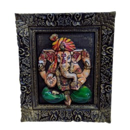 """India Meets India Handicraft Lord Ganesha Fibre Wall Hanging Handpainted Installed On Handcaraved Wooden 27""""X25"""" Inch, Best Gifting Made By Awarded Indian Artisan"""