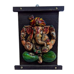 "India Meets India Handicraft Lord Ganesha Fibre Wall Hanging Handpainted Installed On Handcaraved Wooden 27""X25"" Inch, Best Gifting Made By Awarded Indian Artisan"