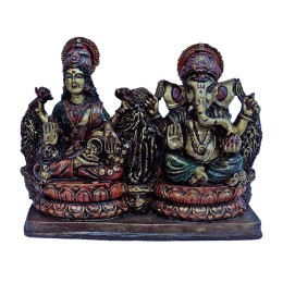 """India Meets India Handicraft Lord Ganesha And Laxmi Ji Fibre Statue, Wall Décor, 7""""x5"""" Inch, Best Gifting Made By Awarded Indian Artisan"""