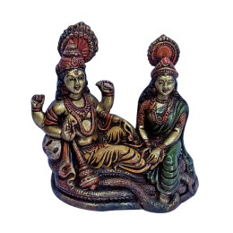 "India Meets India Handicraft Lord Vishnu Lakshmi Fibre Statue 6""x5"" Inch, Best Gifting Made By Awarded Indian Artisan"