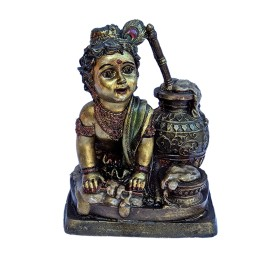 "India Meets India Handicraft Fibre Bal Gopal Lord Krishna Statue, Kanha Statue, Krishna Showpiece, 8""X6"" Inch, Best Gifting Made By Awarded Indian Artisan"