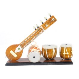 Handmade Miniature Pure Wooden Magnetic Upto 7 Inch Sitar + 1.5 Inch Tabla Set + 3 Inch Dholak With Stand Or Plate ----:---:--Beautifull Desktop Table Top---:--(Decorative Showpiece Gift for New House, Best Housewarming gift for Music Lovers