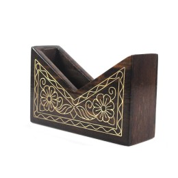 Exclusive Wooden Card Holder With Brass And Copper Inlay by Rural Artisans