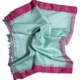 Ethnic Indian Women's Bhagalpuri Handloom Beautiful Linen Tissue Saree with Running Blouse(Green with Pink Border)