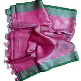 Ethnic Indian Women's Bhagalpuri Handloom Beautiful Linen Tissue Saree with Running Blouse Pink with Green Border