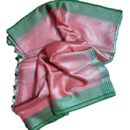 Ethnic Indian Women's Bhagalpuri Handloom Beautiful Linen Tissue Saree with Running Blouse  Peach With Green Border