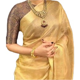 Ethnic Indian Women's Bhagalpuri Handloom Beautiful Linen Tissue Saree with Running Blouse  Golden
