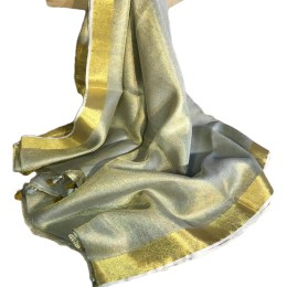 Ethnic Indian Women's Bhagalpuri Handloom Beautiful Linen Tissue Saree with Running Blouse  Silver & Golden