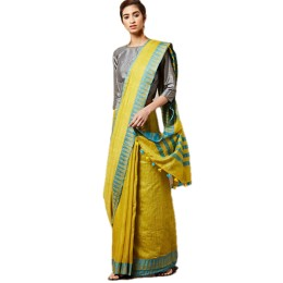 Ethnic Indian Women's Bhagalpuri Handloom Kota silk Saree with contrast temple border and tussels (Yellow)