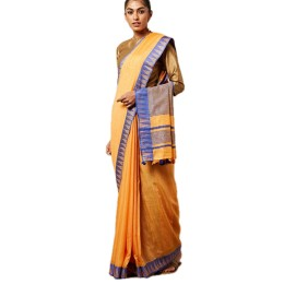 Ethnic Indian Women's Bhagalpuri Handloom Kota silk Saree with contrast temple border and tussels (Orange)