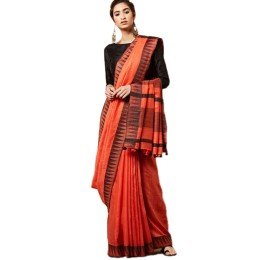 Ethnic Indian Women's Bhagalpuri Handloom Kota silk Saree with contrast temple border and tussels (Orange1)