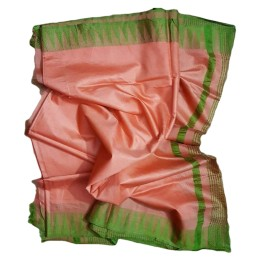Ethnic Indian Women's Bhagalpuri Handloom Kota silk Saree with contrast temple border and tussels (  Peach & Green Border)