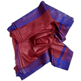 Ethnic Indian Women's Bhagalpuri Handloom Kota silk Saree with contrast temple border and tussels ( Red & Blue Border)